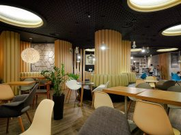 Retro futuristic interior of the REDCUP coffeeshop opened in Sochi