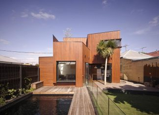 Timber double story addition to the weatherboard Barrow House