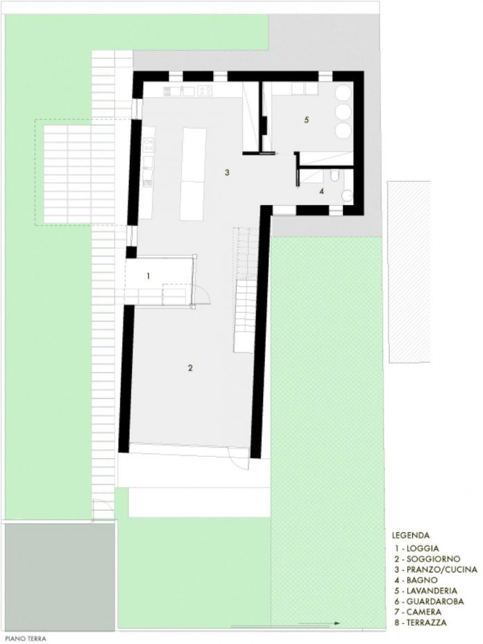 T shaped contemporary house in the outskirts of treviso T shaped house plans