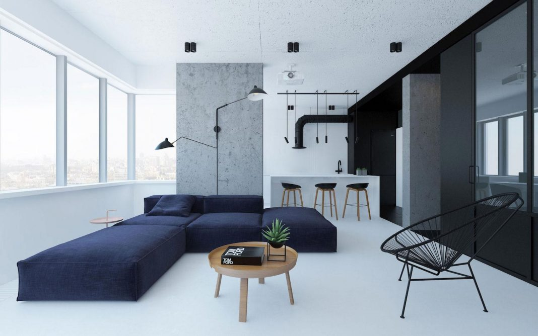 Urban minimalist apartment in Kiev managed to imprint personality without breaking visual harmony