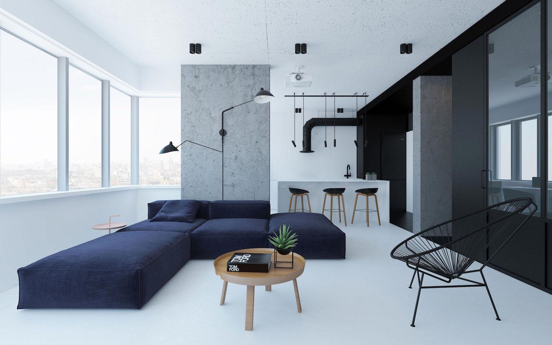 Urban minimalist apartment in kiev managed to imprint for Minimalist condo design