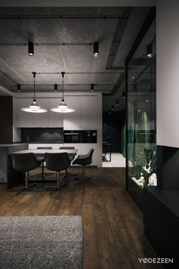 Dark Theme Apartment Designed By Yodezeen In Kiev