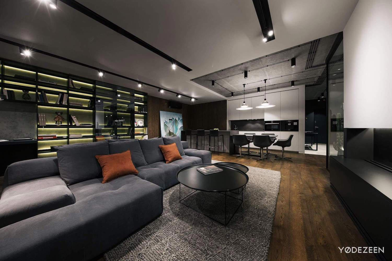 Dark Theme Apartment Designed By Yodezeen In Kiev