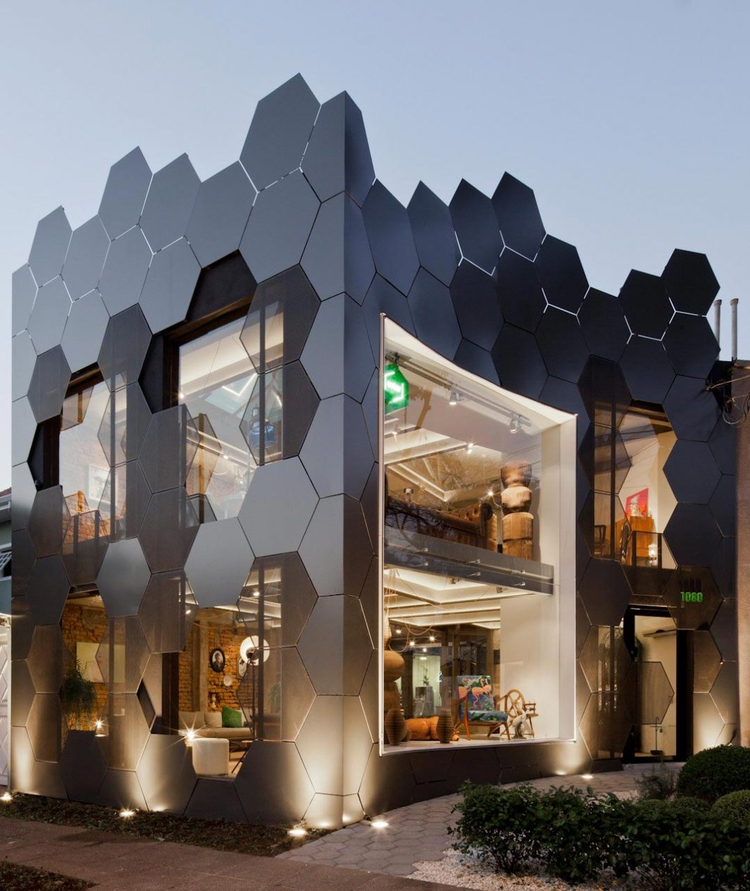 Honeycomb inspired the hexagonal shape on the facade of an furniture store in São Paulo