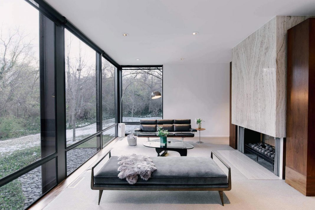 Mid-century modern Cottonwood Heights house where almost every wall is a glass wall