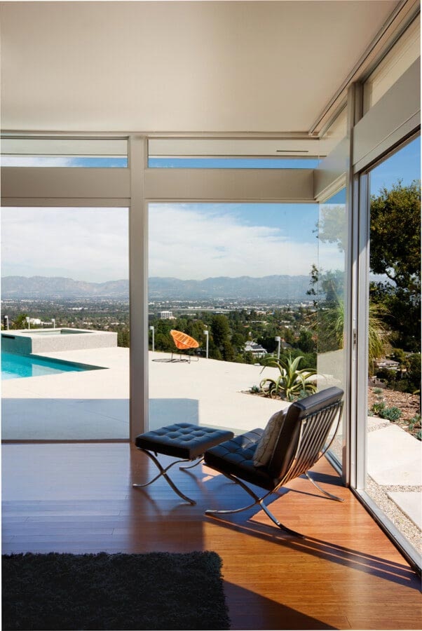 furniture stores san fernando valley nikahd large overhangs protect the interior spaces from harsh midday sun we used light gray walls metal fascias and aluminum garage door panels to midcentury residence offers unobstructed 180 degree views of san