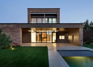 Modern home built by recycled second-hand bricks reclaimed from demolished buildings