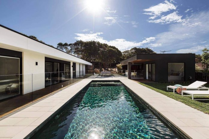 This modern one story house creates a great connection between the