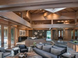 Mountain home sitting on the banks of the Big Wood River in Ketchum's Northwood neighborhood