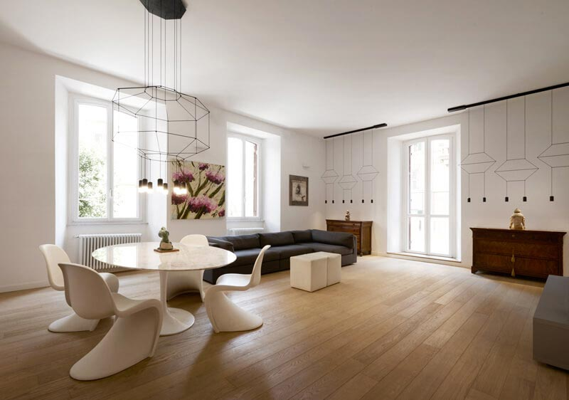 Roman apartment emphasize the original ancient structure through the addition of modern elements