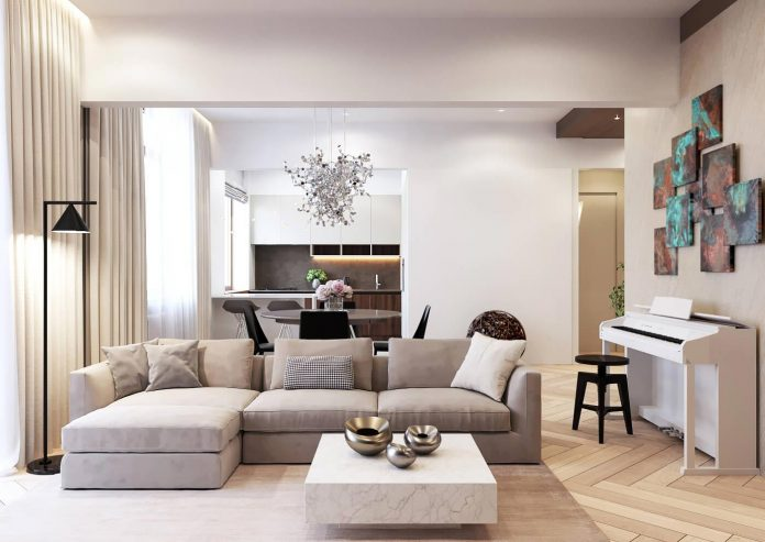 Shamsudin Kerimov designs a pale theme contemporary apartment in Moscow