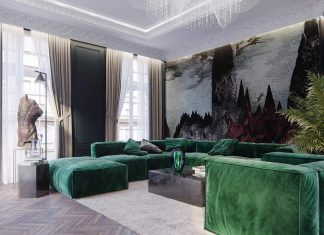 Traditional style and modern non-trivial solutions of an duplex apartment for a small French family