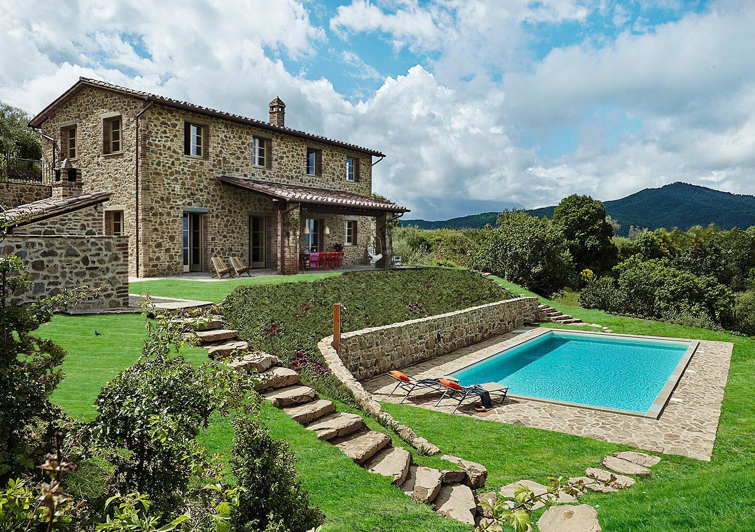 Stone exposed country villa in the old olive grove by for Hotel design umbria