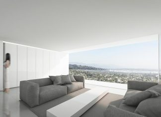 Fran Silvestre Architects designed a modern home nestled high in the Hollywood Hills