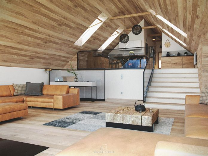Mountain apartment designed by seryjny projektant in sand for Garage apartment interior designs