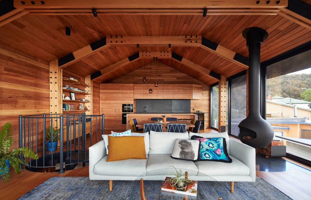 Old shack converted into an amazing wooden home by Austin Maynard Architects