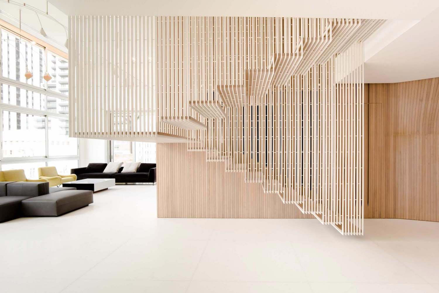Defined Cladded Wooden Skin Floating Structure Suspended Ceiling Vertical Steel Profiles 02