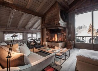 Renovated mountain resort using a rustic but inviting decorative style in Megève, France