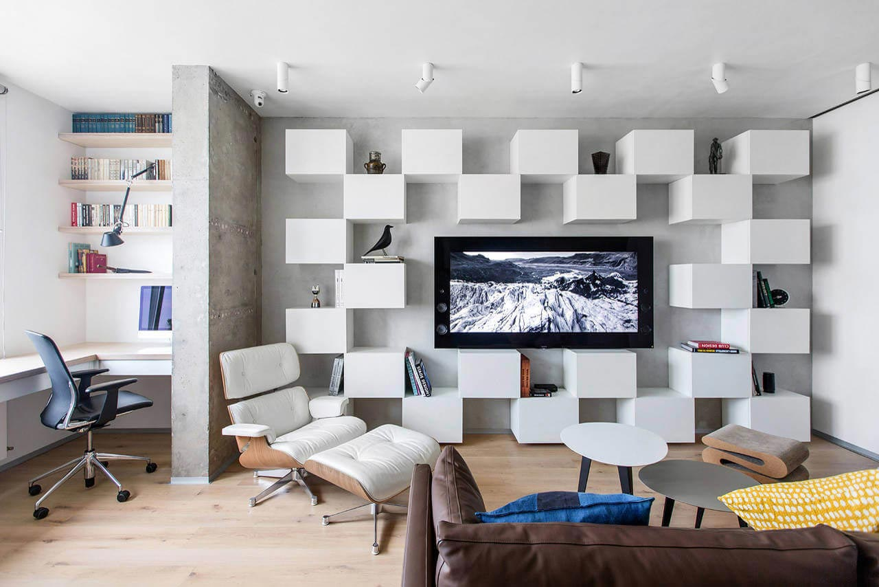 Minimalist apartment for a creative couple in moscow by for Minimalist style apartment
