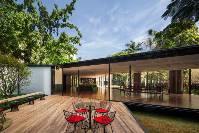 Pavilion conceived as a gathering space to entertain guests providing privacy of the main house