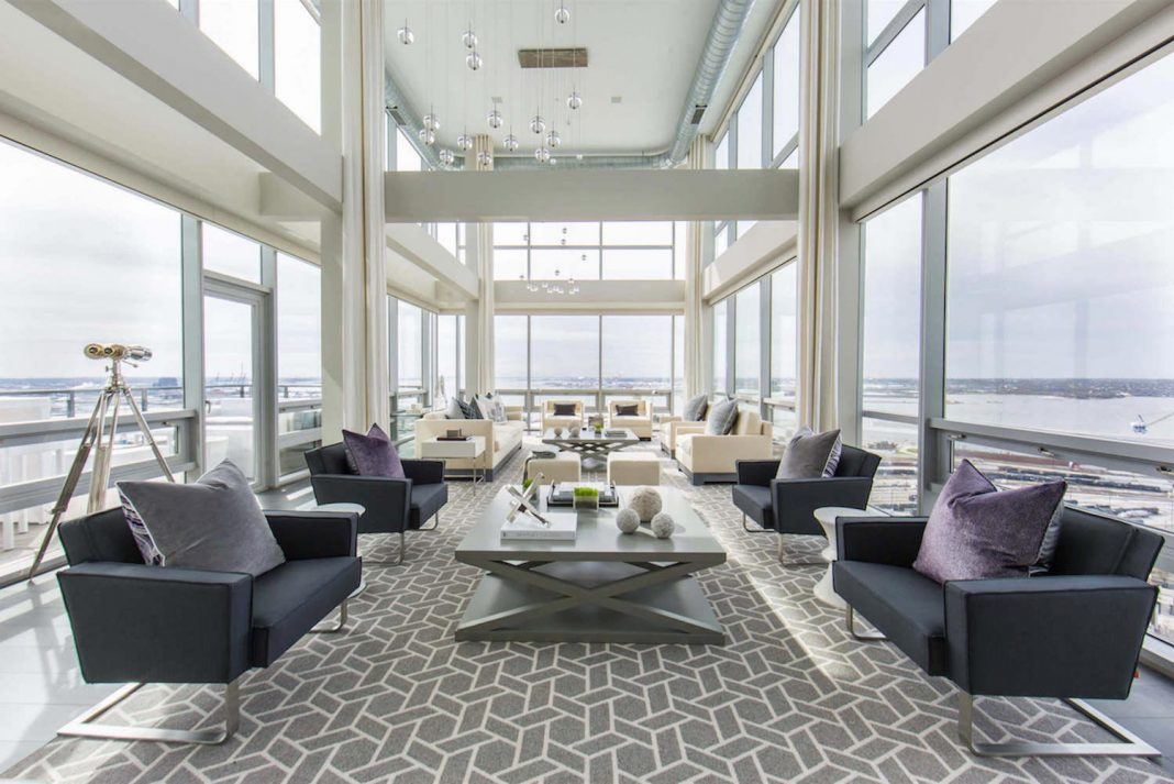Penthouse with floor to ceiling windows on both floors and 360-degree views of Baltimore