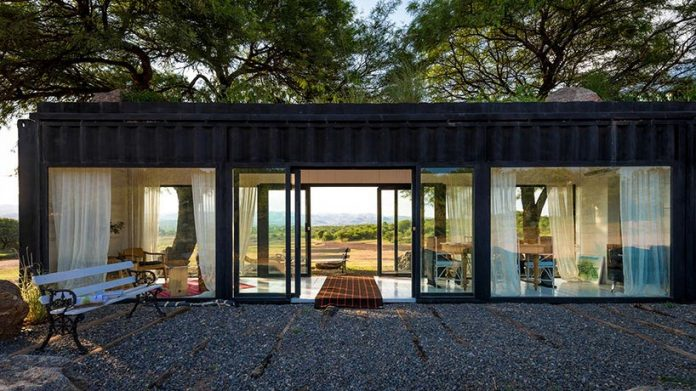 Residence In Argentina With Two Large Trees Above The