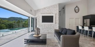 Several kinds of stone in various shades of grey were used for the Yallanbee Residence