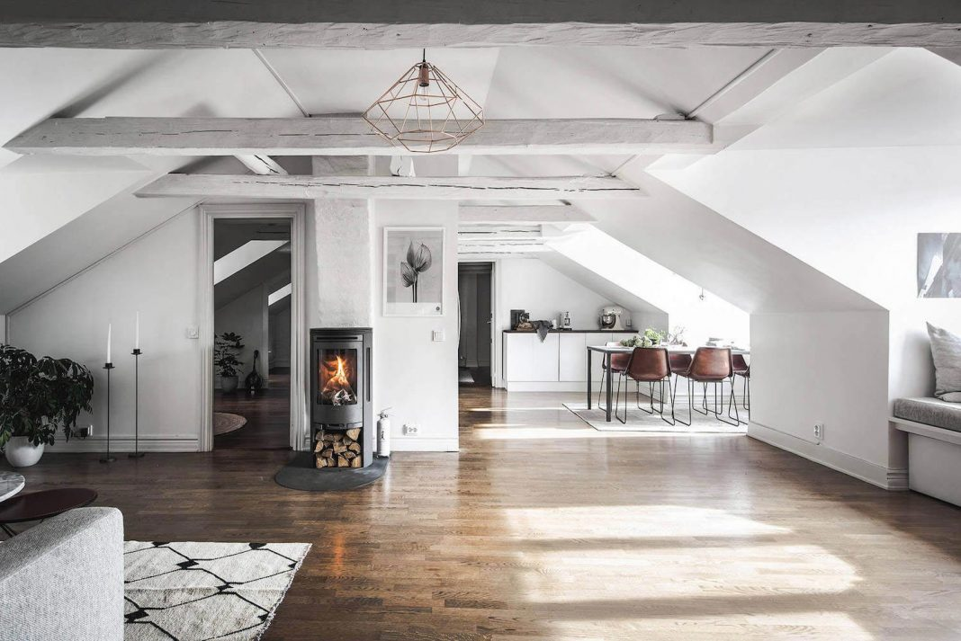 Stylescale designed an Scandinavian attic apartment with old and new ...