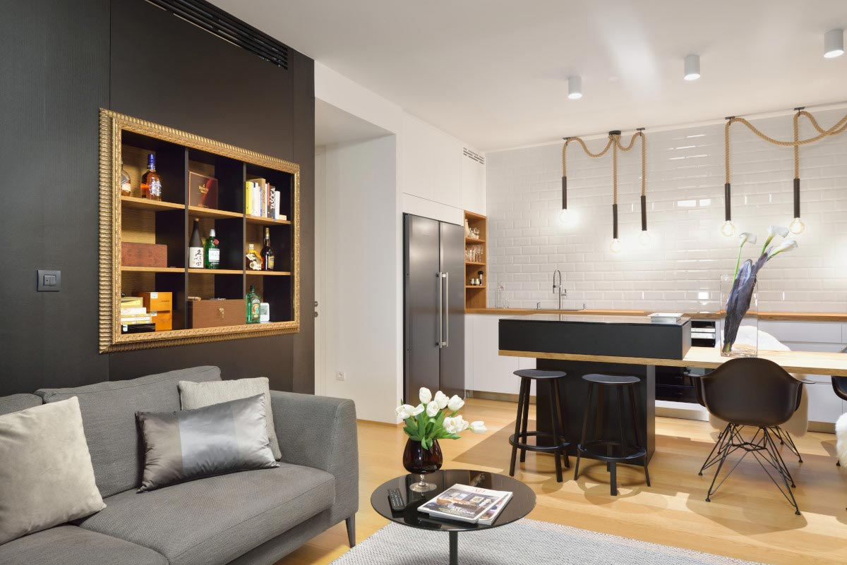 Black and white contrasting minimalist apartment for a young ...