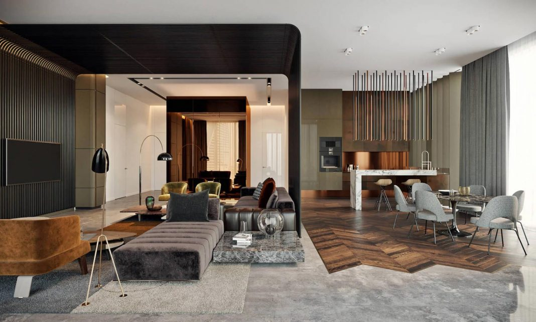 Luxurious interior design created by the various materials and colors used in the Oko Tower apartment in Moscow
