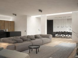 Pastel three room minimalist apartment in Moscow designed by KDVA Architects