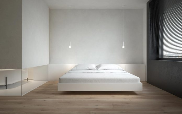 outstanding minimalist bedroom design minimal studio architects interior | Pastel three room minimalist apartment in Moscow designed ...