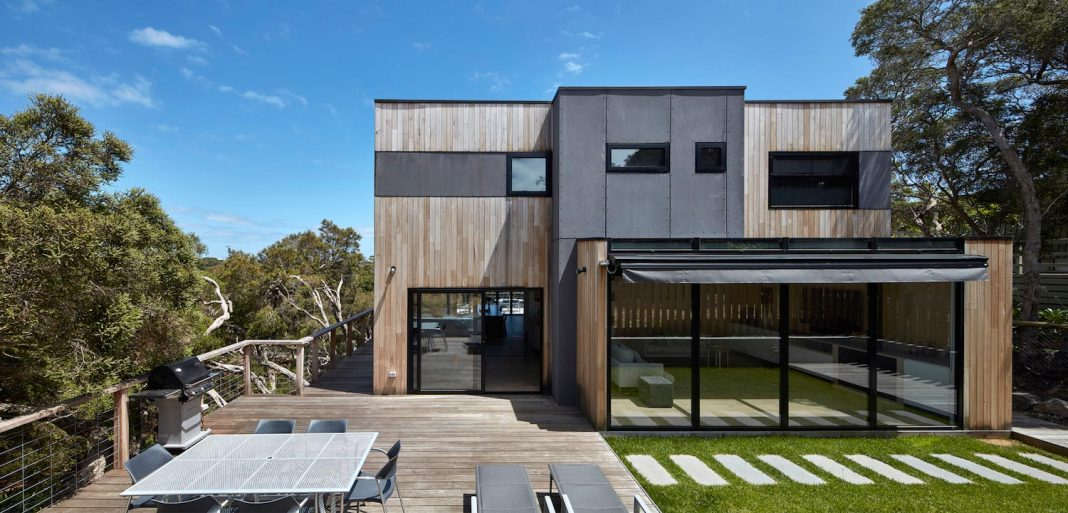 Blairgowrie Beach House on the Mornington Peninsula on a steeply sloped site by DX Architects