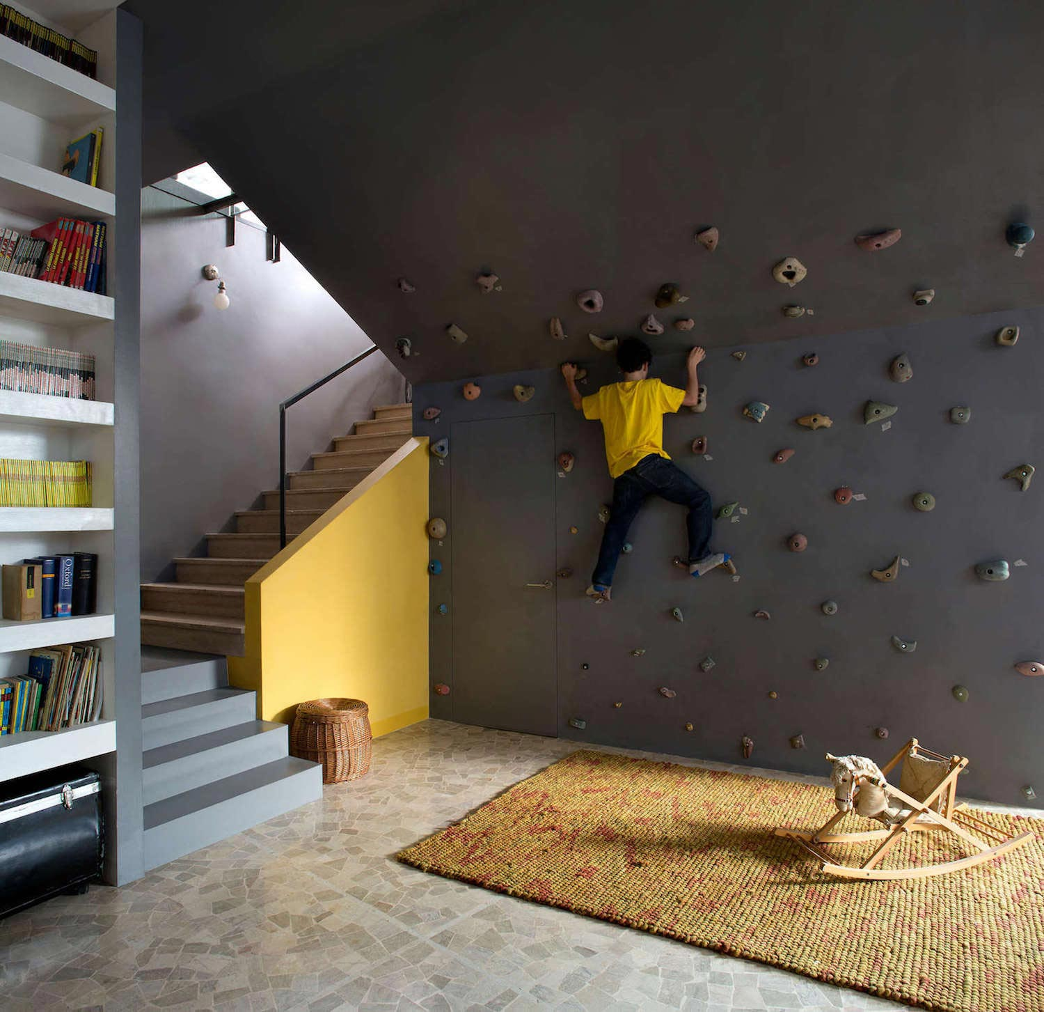 Fun home with lots of contrasting materials and colors has for Home climbing