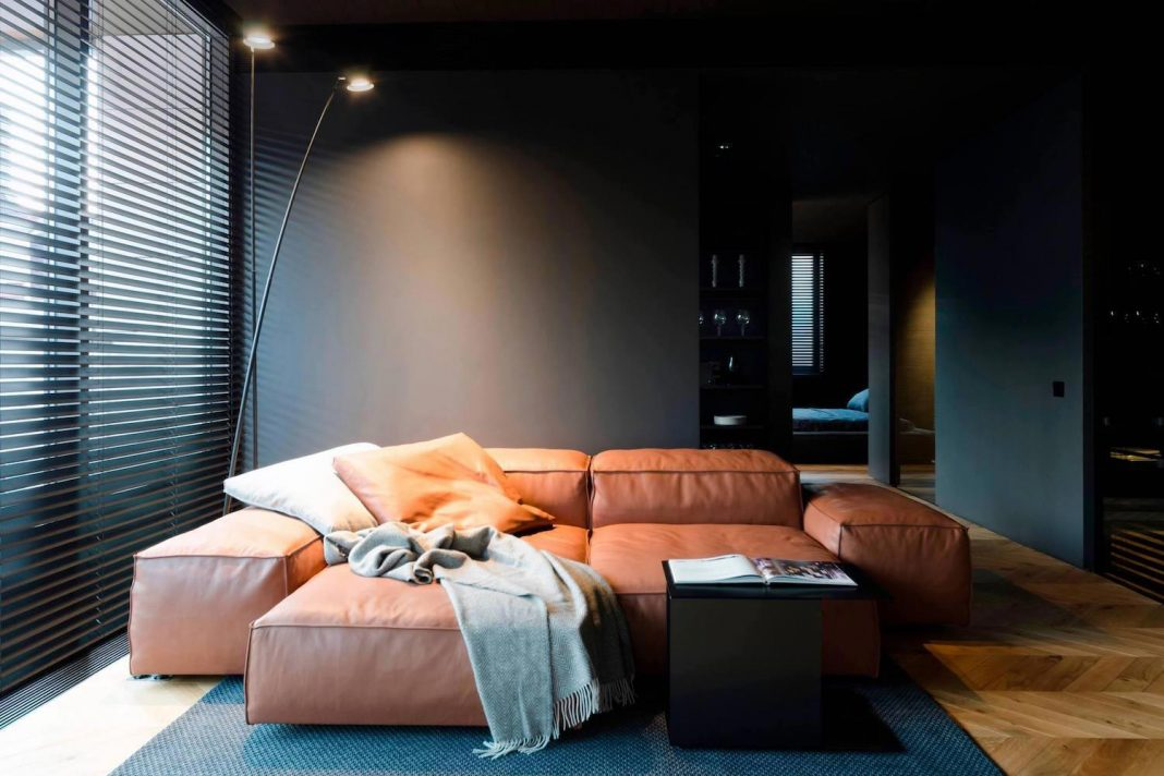 Man's Space by Line Architects: an atmospheric, bold and non-standard interior with a masculine vibe