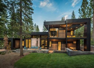 Sagemodern designed a dream home with a modern look surrounded by forrest in Truckee, California