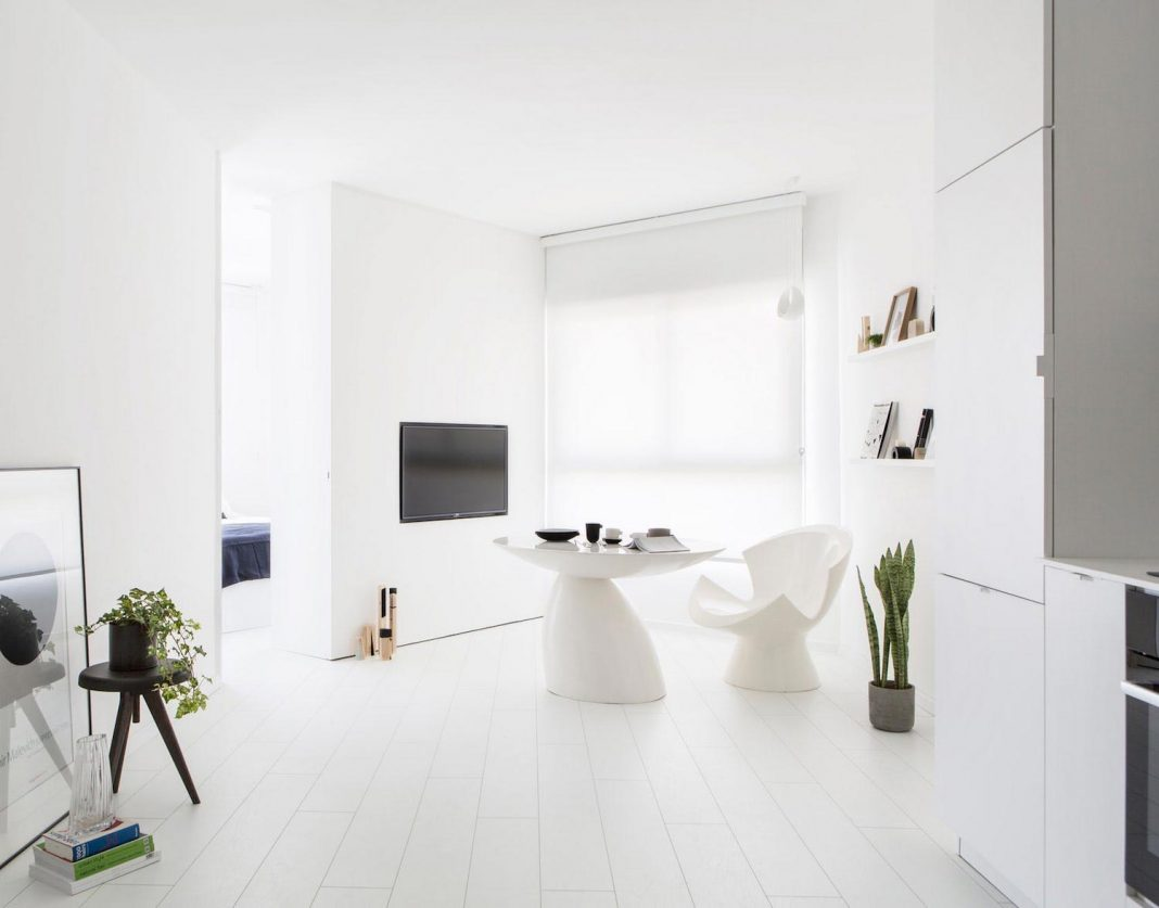 Apartment in the heart of tel aviv transformed into a minimalist white bright space caandesign - Wet rooms in small spaces minimalist ...