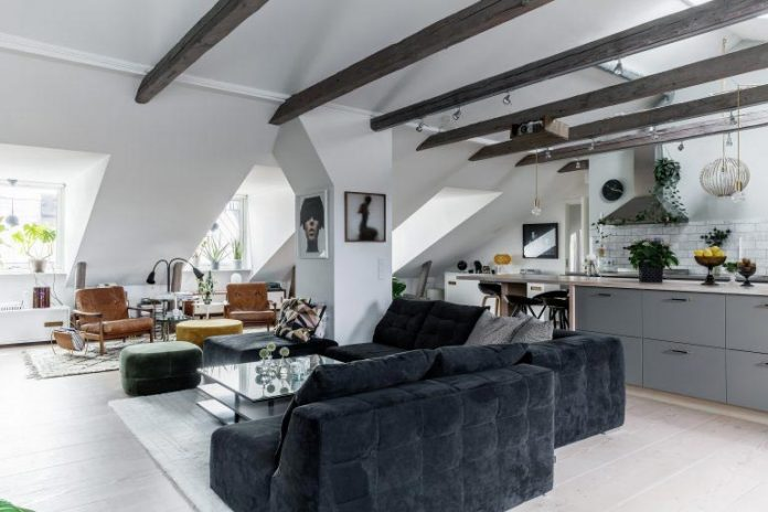 Chic redesign of an Scandinavian style attic located in Stockholm, Sweden
