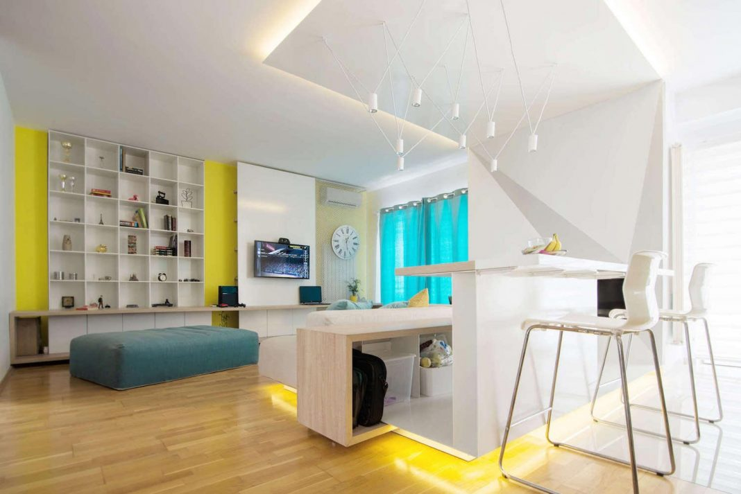 Chic penthouse for two with a contemporary and minimalist manner with a splash of color