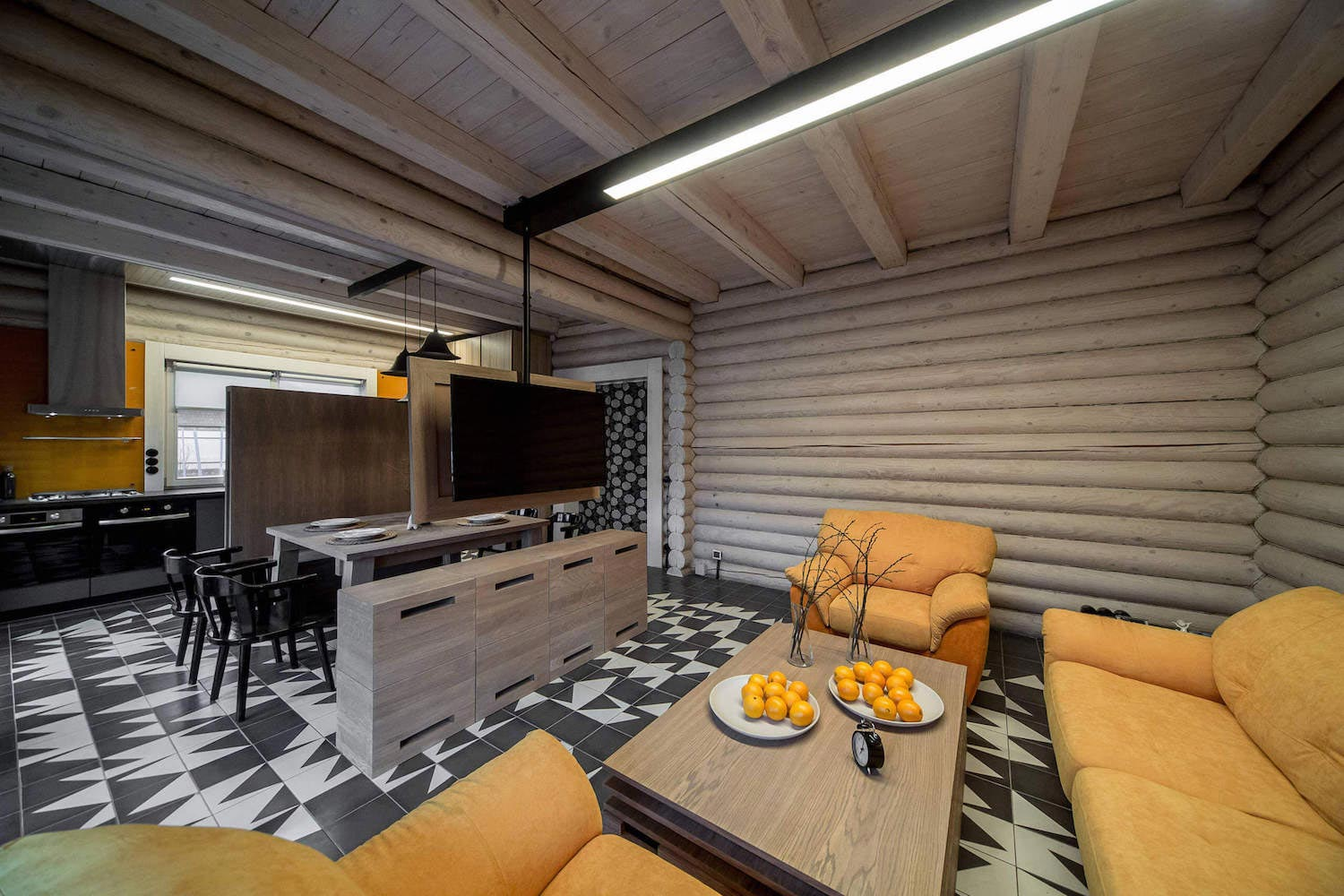 compact wooden cabin with an inspiring interior design in russia