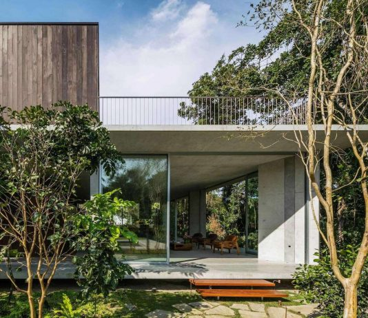 Concrete house placed close to the seashore and surrounded by a dense and rich rainforest vegetation
