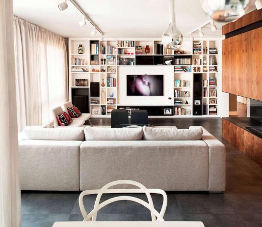 E2 Apartment designed in white and grey with a touch of a wood paneling around fireplace by Tchenguelieva Staynov Architects