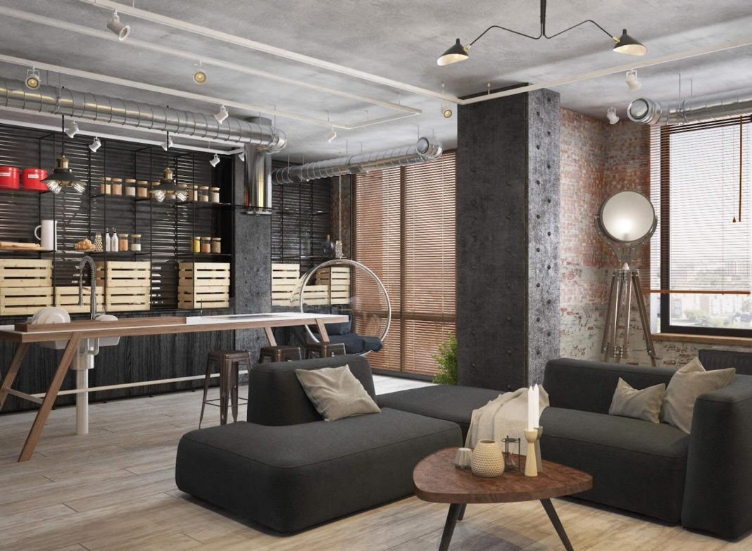 Industrial apartment located in Moscow visualized by Eugene Shvetsov