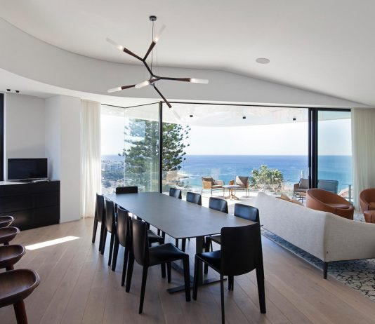 L-shaped house designed for a family of four with ocean views