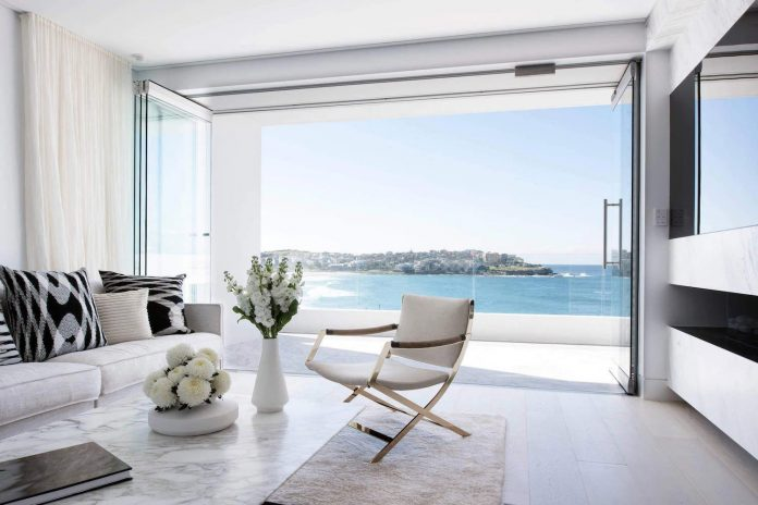 Luxurious beachside apartment located in Bondi, Sydney designed with quite some marble textures