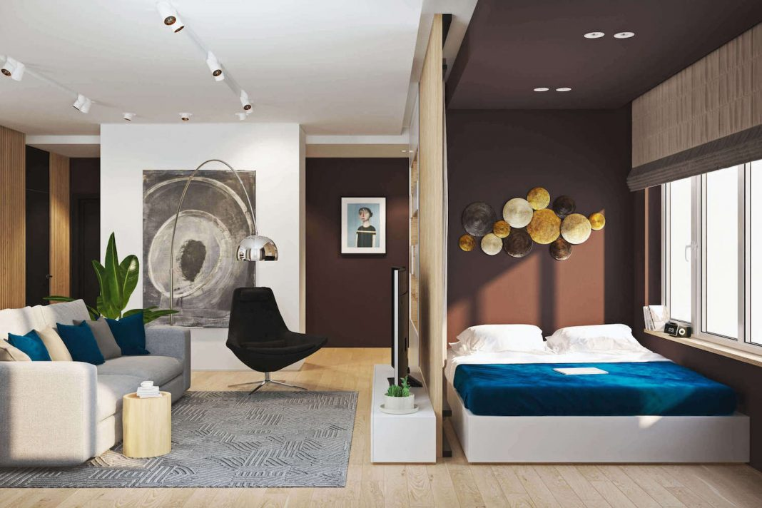 Modern two-room flat designed to create an additional bedroom ...