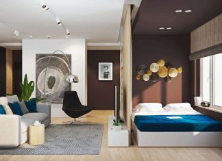 Modern two-room flat designed to create an additional bedroom thanks to the vertical wood sticks