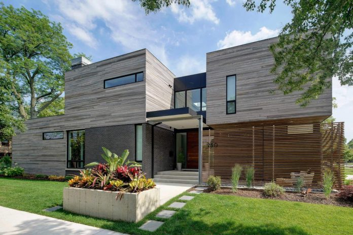 Modern Two-story Single Family House Is Located In The