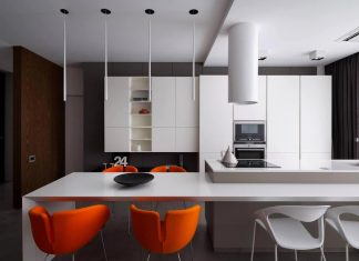 Monochrome colors that characterize minimalist interior used in this Ukrainian apartment
