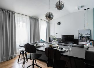 Monte Cassino Apartment: oak wood, combined with black elements and green toned color